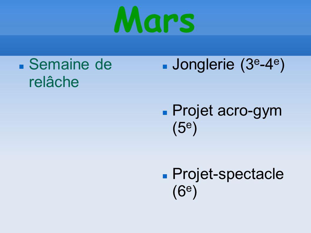 Mars Semaine de relâche Jonglerie (3 e -4 e ) Projet acro-gym (5 e ) Projet-spectacle (6 e )