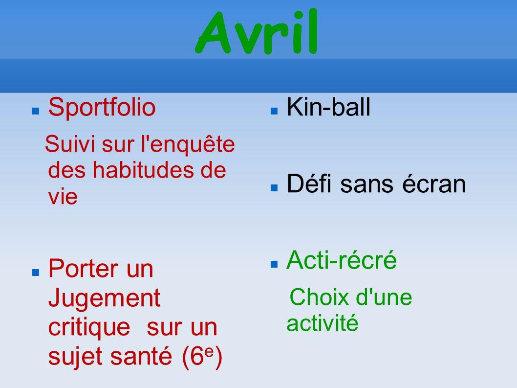 Avril Sportfolio Suivi sur l'enquête des habitudes de vie Porter un Jugement critique sur un sujet santé (6 e ) Kin-ball Défi sans écran Acti-récré Ch