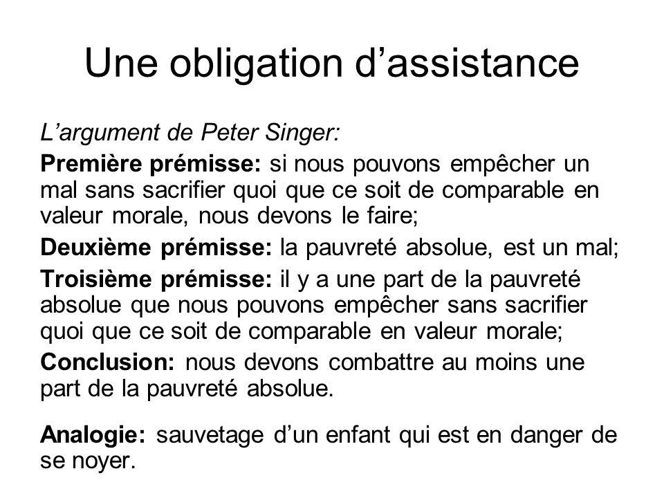 Une obligation d'assistance L'argument de Peter Singer: Première prémisse: si nous pouvons empêcher un mal sans sacrifier quoi que ce soit de comparab