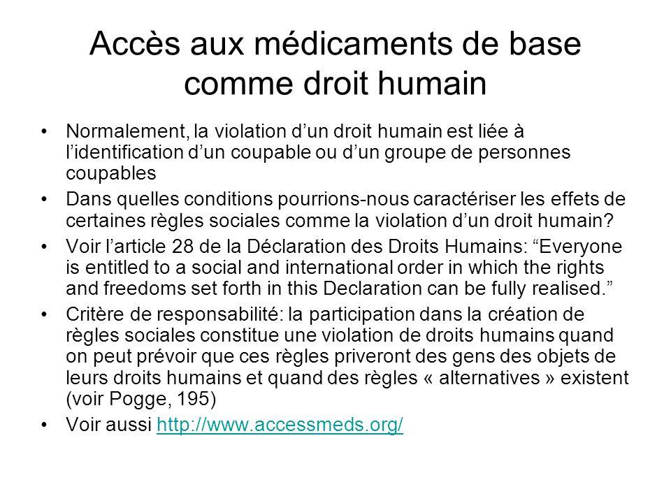 Accès aux médicaments de base comme droit humain Normalement, la violation d'un droit humain est liée à l'identification d'un coupable ou d'un groupe