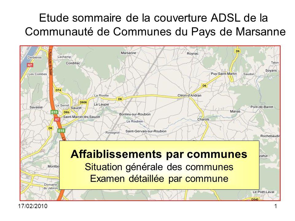 17/02/20101 Affaiblissements par communes Situation générale des communes Examen détaillée par commune Etude sommaire de la couverture ADSL de la Communauté de Communes du Pays de Marsanne