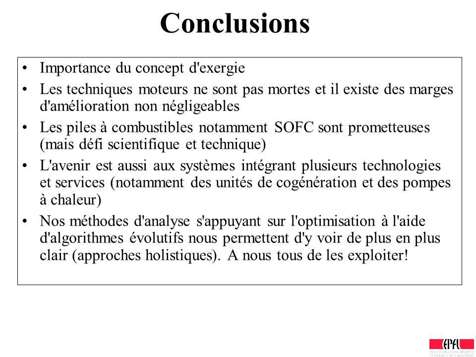 Conclusions Importance du concept d'exergie Les techniques moteurs ne sont pas mortes et il existe des marges d'amélioration non négligeables Les pile