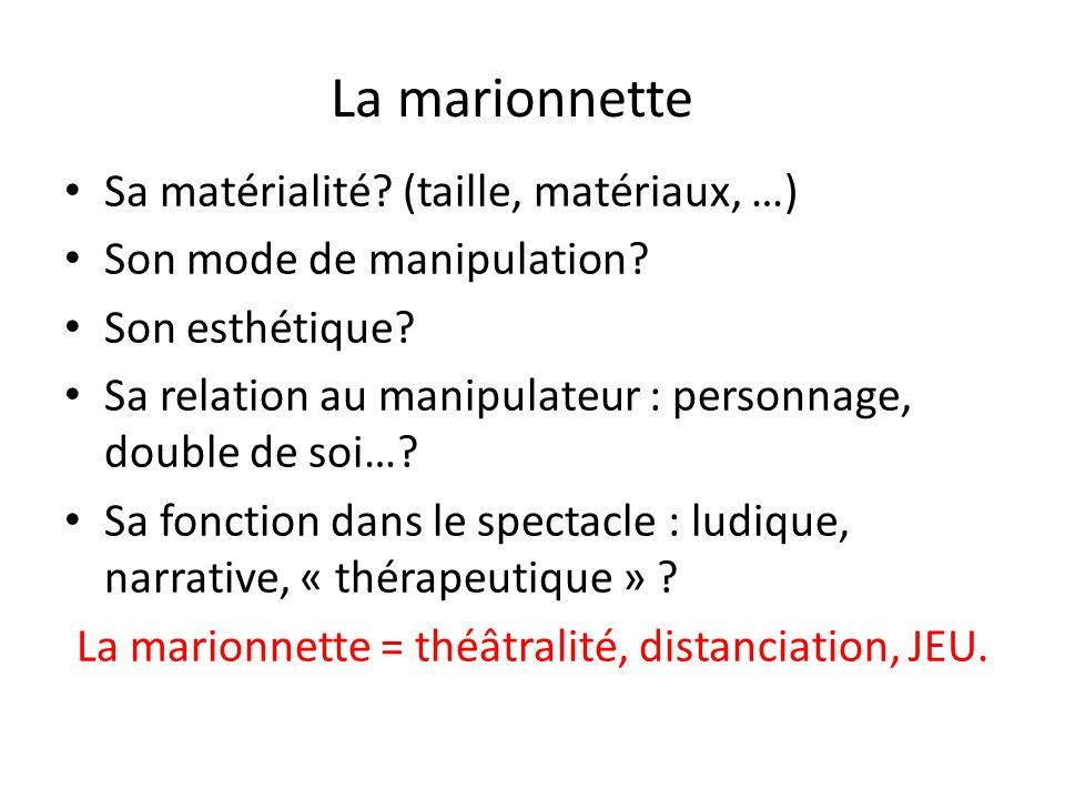 Sa matérialité? (taille, matériaux, …) Son mode de manipulation? Son esthétique? Sa relation au manipulateur : personnage, double de soi…? Sa fonction