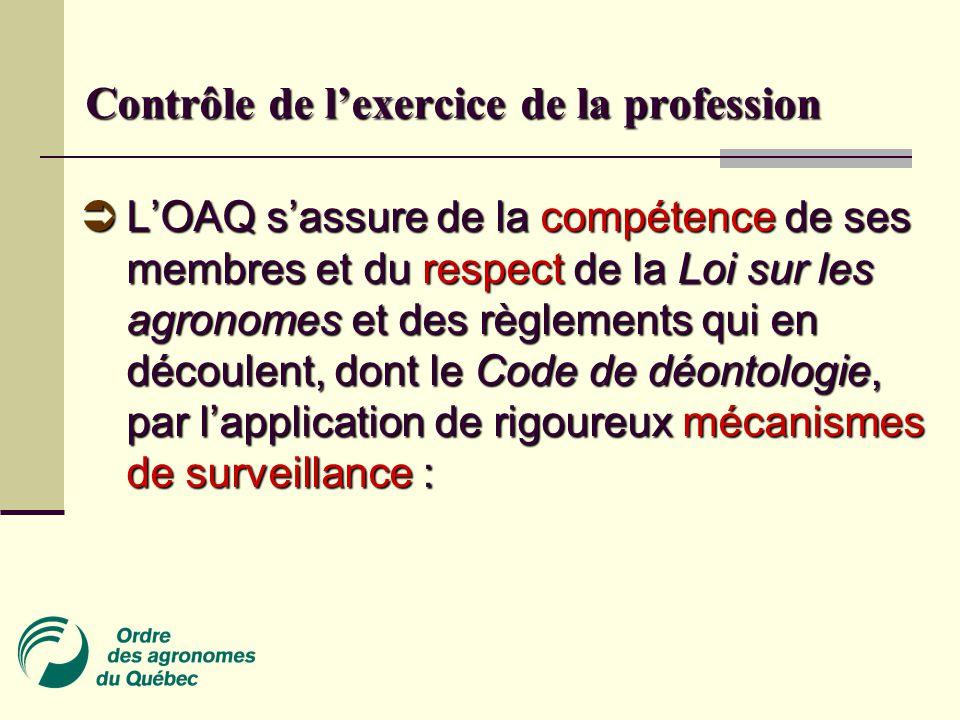 Contrôle de l'exercice de la profession  L'OAQ s'assure de la compétence de ses membres et du respect de la Loi sur les agronomes et des règlements qui en découlent, dont le Code de déontologie, par l'application de rigoureux mécanismes de surveillance :