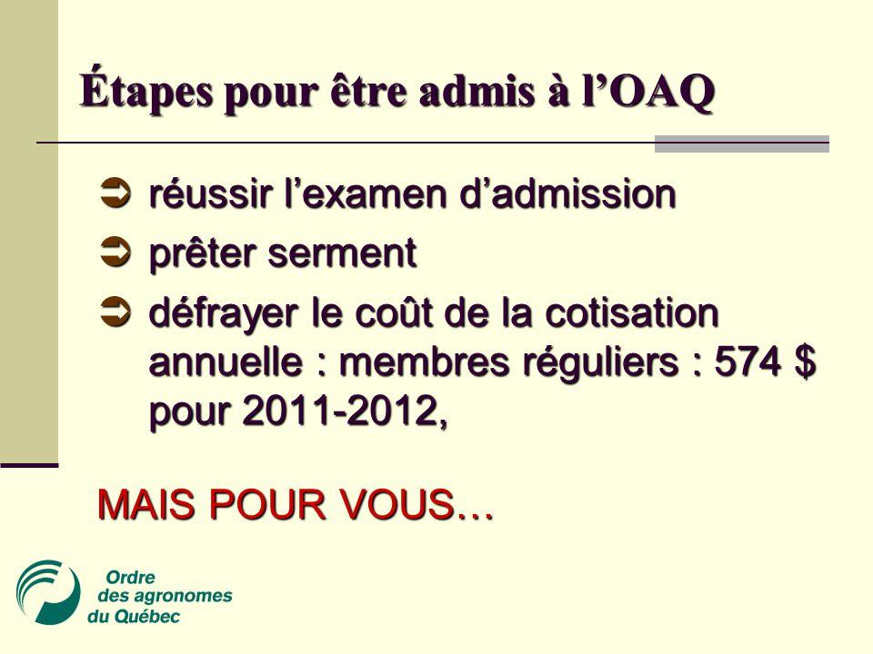 Étapes pour être admis à l'OAQ  réussir l'examen d'admission  prêter serment  défrayer le coût de la cotisation annuelle : membres réguliers : 574 $ pour 2011-2012, MAIS POUR VOUS…