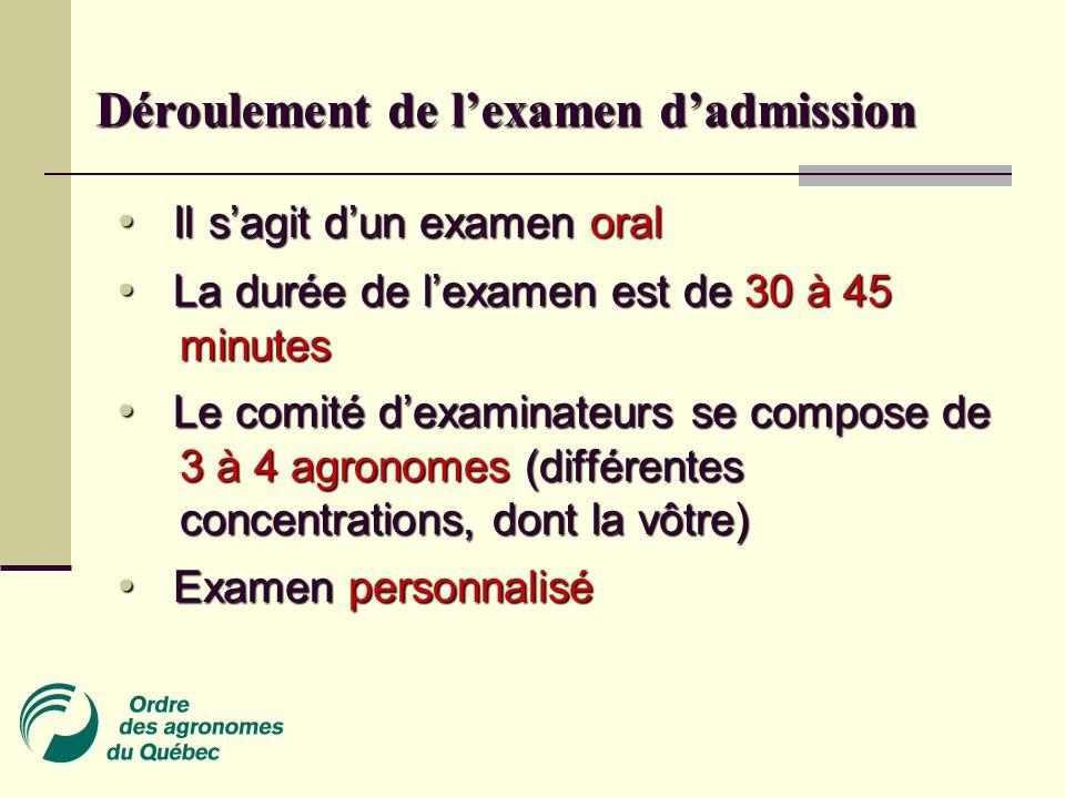Déroulement de l'examen d'admission Il s'agit d'un examen oral Il s'agit d'un examen oral La durée de l'examen est de 30 à 45 minutes La durée de l'examen est de 30 à 45 minutes Le comité d'examinateurs se compose de 3 à 4 agronomes (différentes concentrations, dont la vôtre) Le comité d'examinateurs se compose de 3 à 4 agronomes (différentes concentrations, dont la vôtre) Examen personnalisé Examen personnalisé
