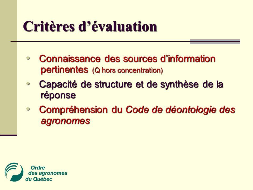 Critères d'évaluation Connaissance des sources d'information pertinentes (Q hors concentration) Connaissance des sources d'information pertinentes (Q hors concentration) Capacité de structure et de synthèse de la réponse Capacité de structure et de synthèse de la réponse Compréhension du Code de déontologie des agronomes Compréhension du Code de déontologie des agronomes
