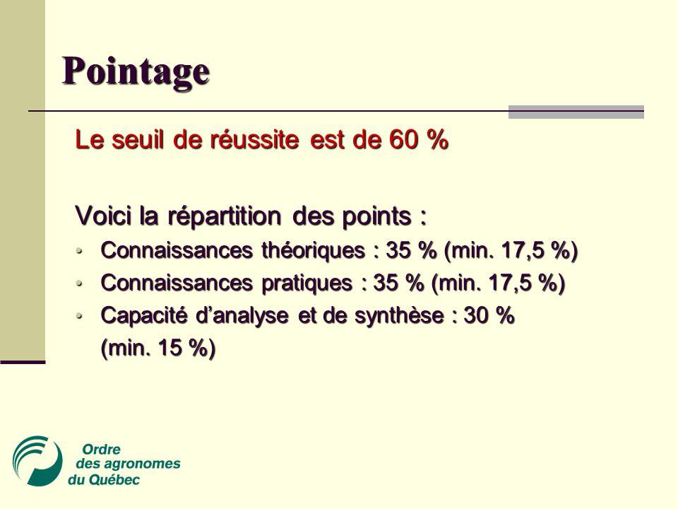 Pointage Le seuil de réussite est de 60 % Voici la répartition des points : Connaissances théoriques : 35 % (min.