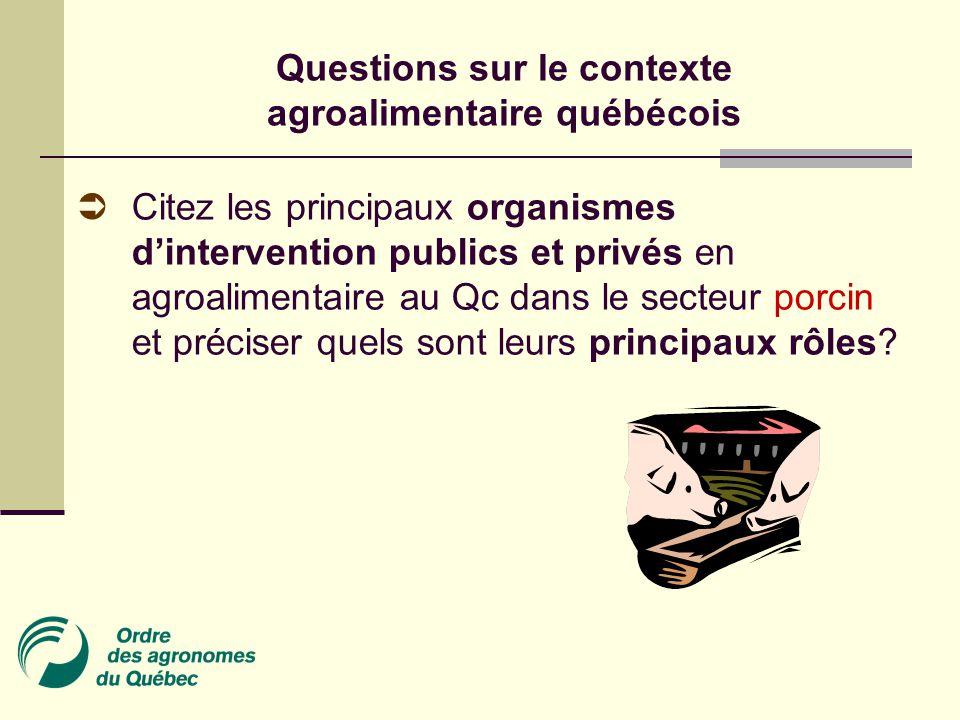Questions sur le contexte agroalimentaire québécois  Citez les principaux organismes d'intervention publics et privés en agroalimentaire au Qc dans le secteur porcin et préciser quels sont leurs principaux rôles?