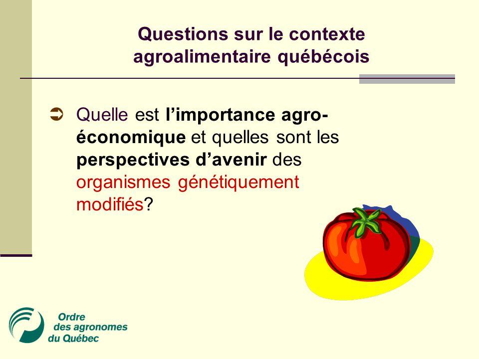 Questions sur le contexte agroalimentaire québécois  Quelle est l'importance agro- économique et quelles sont les perspectives d'avenir des organismes génétiquement modifiés?