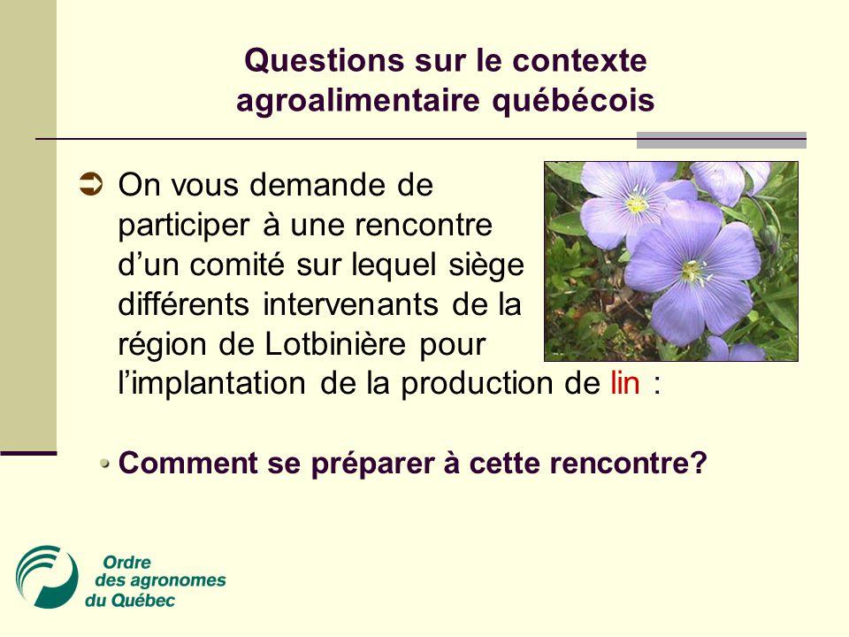 On vous demande de participer à une rencontre d'un comité sur lequel siège différents intervenants de la région de Lotbinière pour l'implantation de la production de lin : Comment se préparer à cette rencontre.
