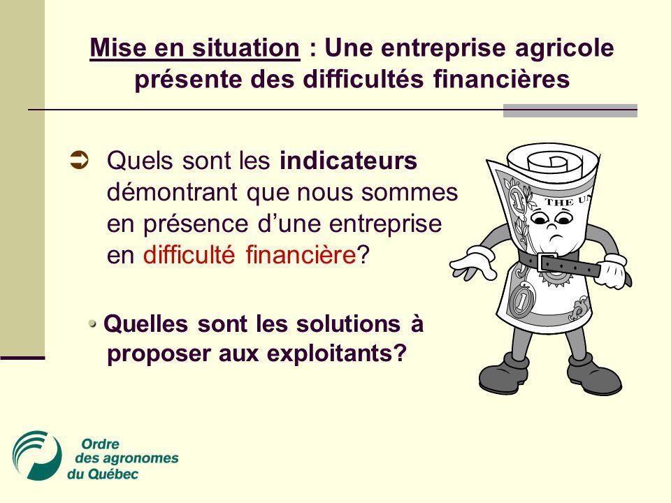 Mise en situation : Une entreprise agricole présente des difficultés financières  Quels sont les indicateurs démontrant que nous sommes en présence d'une entreprise en difficulté financière.