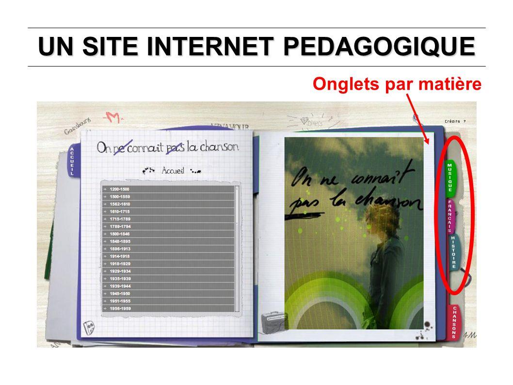 UN SITE INTERNET PEDAGOGIQUE Simulation de parcours d un professeur d histoire Classement des chansons par période