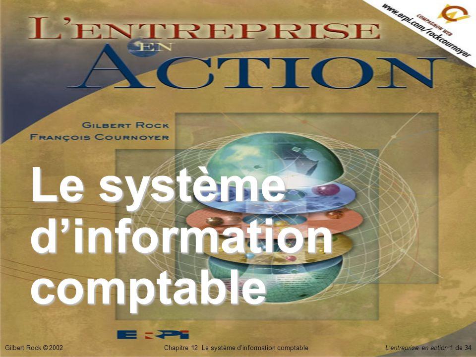 Gilbert Rock © 2002Chapitre 12 Le système d'information comptable L'entreprise en action 12 de 34 Vérification des connaissances  Qu'est-ce que le système comptable .