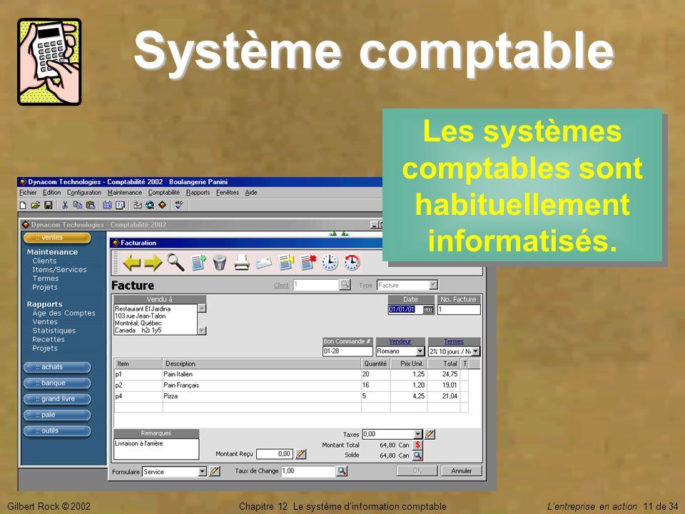 Gilbert Rock © 2002Chapitre 12 Le système d'information comptable L'entreprise en action 11 de 34 Système comptable Les systèmes comptables sont habit
