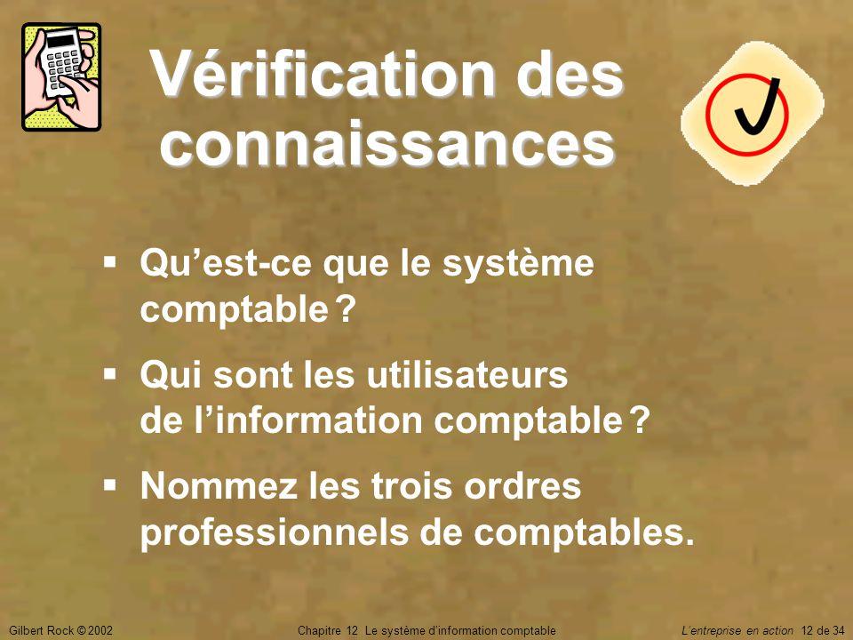 Gilbert Rock © 2002Chapitre 12 Le système d'information comptable L'entreprise en action 12 de 34 Vérification des connaissances  Qu'est-ce que le sy