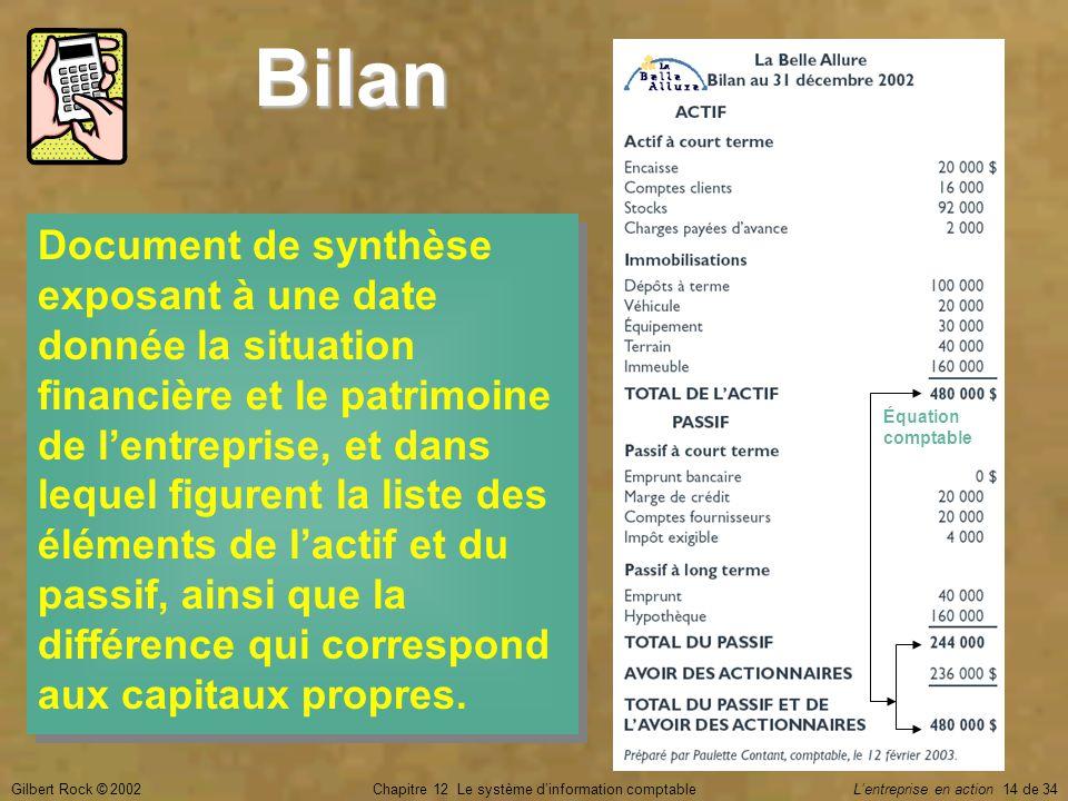 Gilbert Rock © 2002Chapitre 12 Le système d'information comptable L'entreprise en action 14 de 34 Bilan Document de synthèse exposant à une date donné