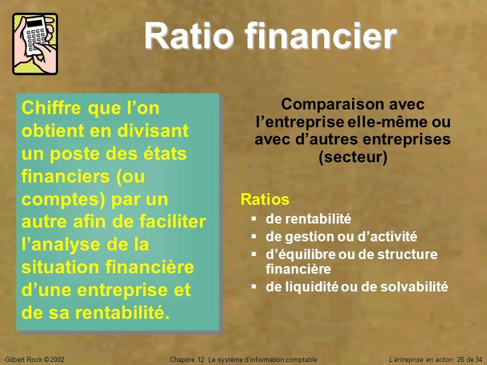 Gilbert Rock © 2002Chapitre 12 Le système d'information comptable L'entreprise en action 26 de 34 Ratio financier Chiffre que l'on obtient en divisant