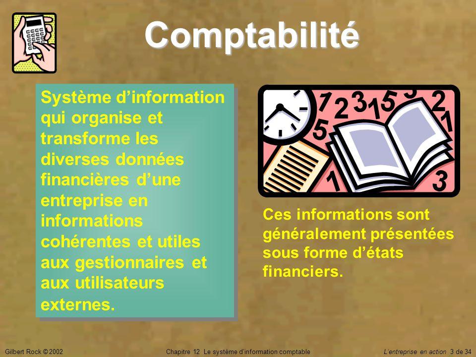 Gilbert Rock © 2002Chapitre 12 Le système d'information comptable L'entreprise en action 3 de 34 Comptabilité Système d'information qui organise et tr