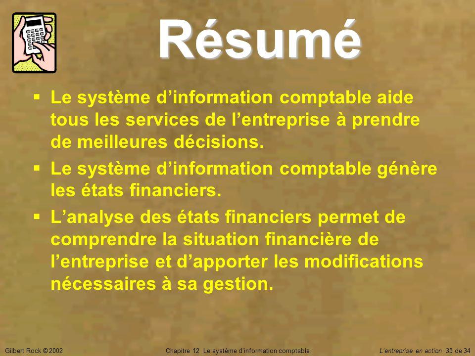 Gilbert Rock © 2002Chapitre 12 Le système d'information comptable L'entreprise en action 35 de 34  Le système d'information comptable aide tous les s