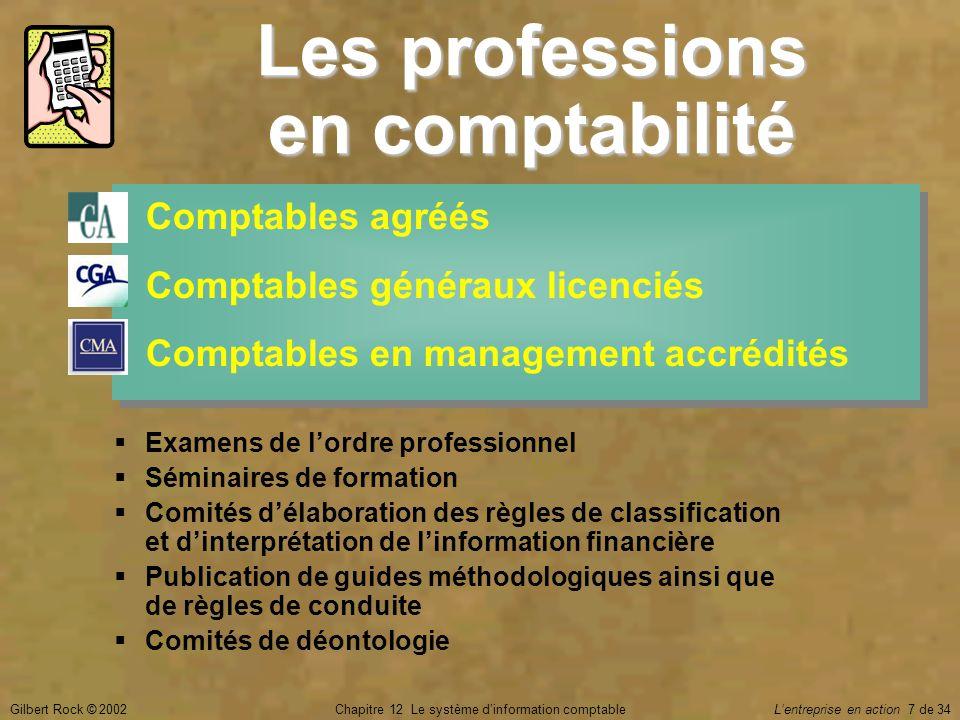Gilbert Rock © 2002Chapitre 12 Le système d'information comptable L'entreprise en action 7 de 34 Les professions en comptabilité Comptables agréés Com