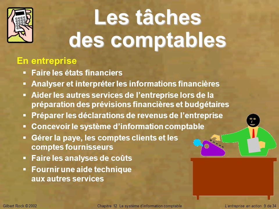 Gilbert Rock © 2002Chapitre 12 Le système d'information comptable L'entreprise en action 9 de 34 Les tâches des comptables En entreprise  Faire les é
