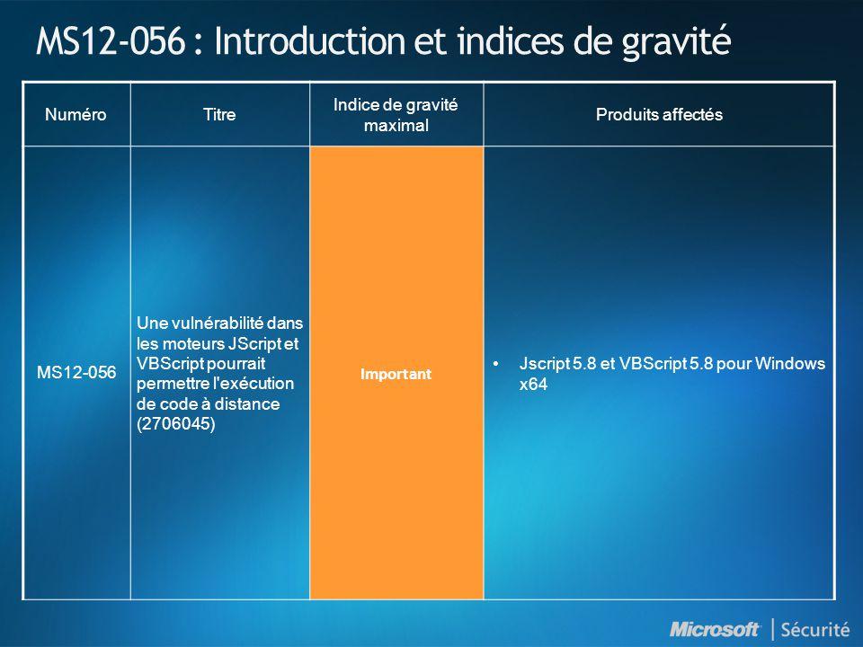 MS12-056 : Introduction et indices de gravité NuméroTitre Indice de gravité maximal Produits affectés MS12-056 Une vulnérabilité dans les moteurs JScript et VBScript pourrait permettre l exécution de code à distance (2706045) Important Jscript 5.8 et VBScript 5.8 pour Windows x64