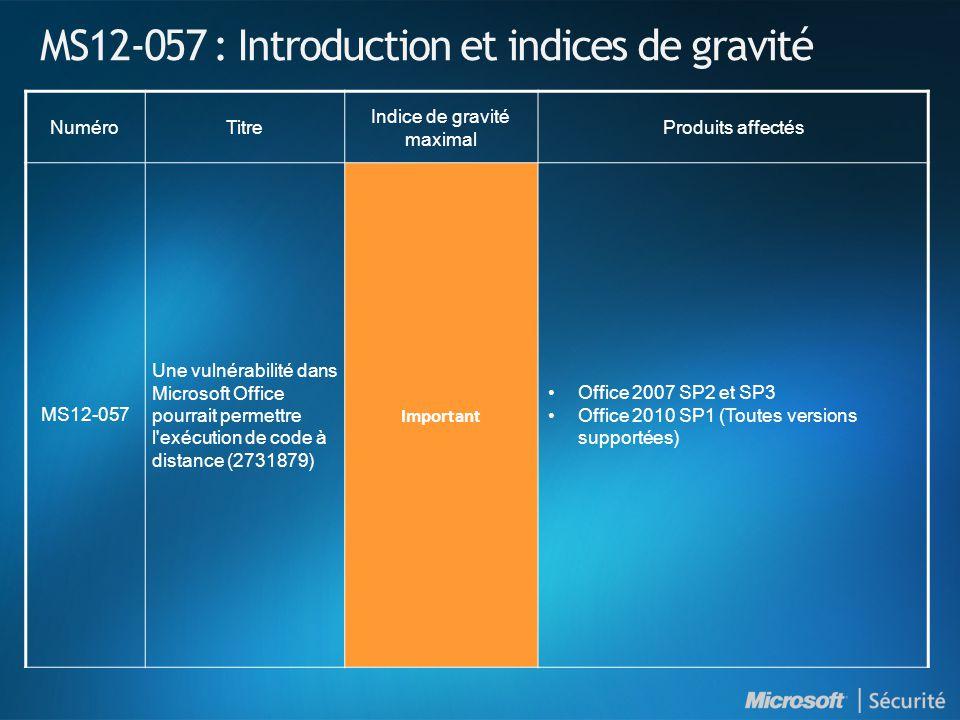 MS12-057 : Introduction et indices de gravité NuméroTitre Indice de gravité maximal Produits affectés MS12-057 Une vulnérabilité dans Microsoft Office pourrait permettre l exécution de code à distance (2731879) Important Office 2007 SP2 et SP3 Office 2010 SP1 (Toutes versions supportées)