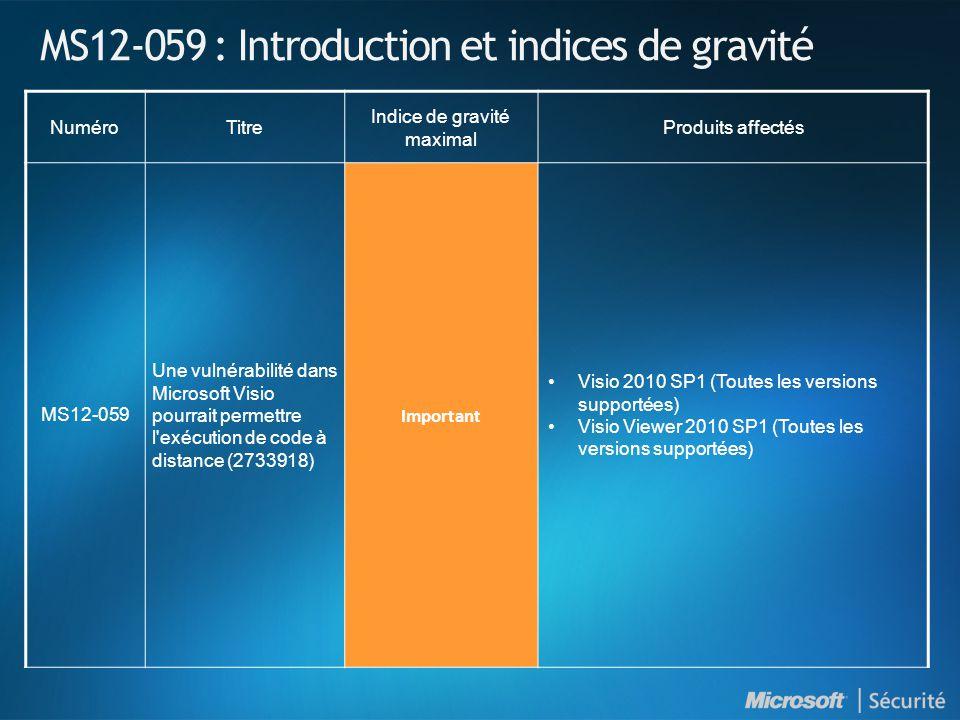 MS12-059 : Introduction et indices de gravité NuméroTitre Indice de gravité maximal Produits affectés MS12-059 Une vulnérabilité dans Microsoft Visio pourrait permettre l exécution de code à distance (2733918) Important Visio 2010 SP1 (Toutes les versions supportées) Visio Viewer 2010 SP1 (Toutes les versions supportées)