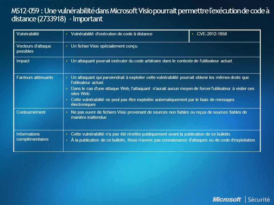 MS12-059 : Une vulnérabilité dans Microsoft Visio pourrait permettre l exécution de code à distance (2733918) - Important VulnérabilitéVulnérabilité d exécution de code à distanceCVE-2012-1858 Vecteurs d attaque possibles Un fichier Visio spécialement conçu ImpactUn attaquant pourrait exécuter du code arbitraire dans le contexte de l utilisateur actuel.
