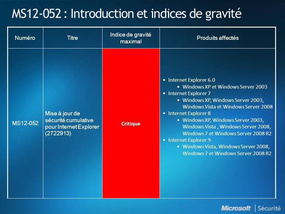 MS12-052 : Mise à jour de sécurité cumulative pour Internet Explorer (2722913) - Critique VulnérabilitéVulnérabilités d exécution de code à distanceCVE-2012-1526 CVE-2012-2521 CVE-2012-2522 CVE-2012-2523 Vecteurs d attaque possibles Une page web spécialement conçue ImpactUn attaquant pourrait exécuter du code arbitraire dans le contexte de l utilisateur.