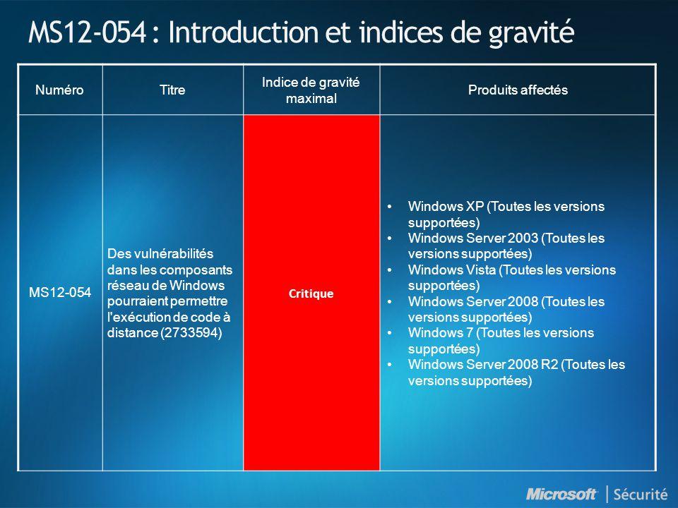 MS12-054 : Introduction et indices de gravité NuméroTitre Indice de gravité maximal Produits affectés MS12-054 Des vulnérabilités dans les composants réseau de Windows pourraient permettre l exécution de code à distance (2733594) Critique Windows XP (Toutes les versions supportées) Windows Server 2003 (Toutes les versions supportées) Windows Vista (Toutes les versions supportées) Windows Server 2008 (Toutes les versions supportées) Windows 7 (Toutes les versions supportées) Windows Server 2008 R2 (Toutes les versions supportées)