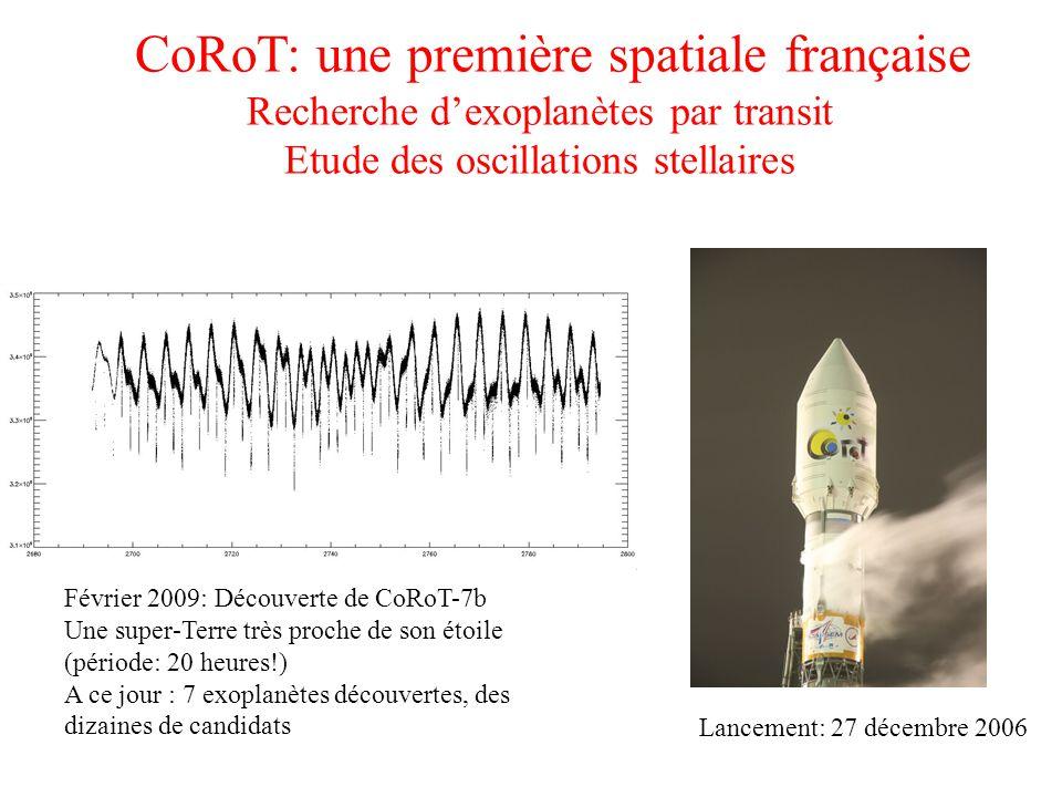 CoRoT: une première spatiale française Recherche d'exoplanètes par transit Etude des oscillations stellaires Février 2009: Découverte de CoRoT-7b Une