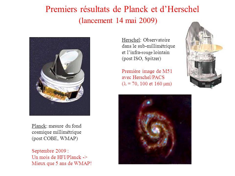 Premiers résultats de Planck et d'Herschel (lancement 14 mai 2009) Planck: mesure du fond cosmique millimétrique (post COBE, WMAP) Septembre 2009 : Un