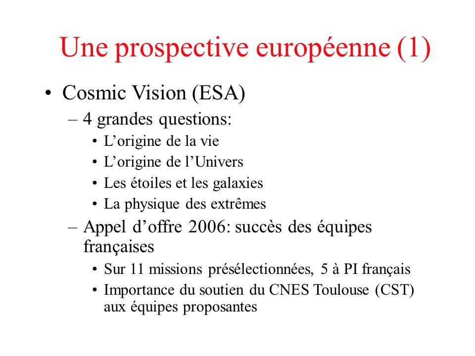 Une prospective européenne (1) Cosmic Vision (ESA) –4 grandes questions: L'origine de la vie L'origine de l'Univers Les étoiles et les galaxies La phy