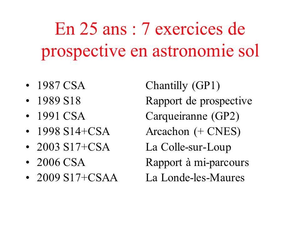En 25 ans : 7 exercices de prospective en astronomie sol 1987 CSA Chantilly (GP1) 1989 S18Rapport de prospective 1991 CSA Carqueiranne (GP2) 1998 S14+