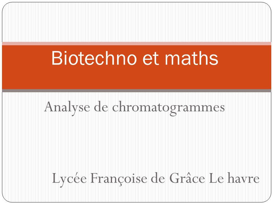 Analyse de chromatogrammes Biotechno et maths Lycée Françoise de Grâce Le havre