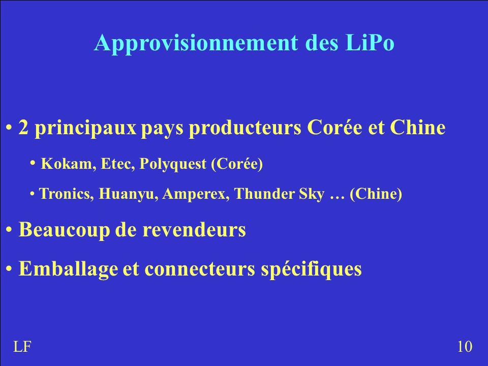 Approvisionnement des LiPo 2 principaux pays producteurs Corée et Chine Kokam, Etec, Polyquest (Corée) Tronics, Huanyu, Amperex, Thunder Sky … (Chine) Beaucoup de revendeurs Emballage et connecteurs spécifiques 10LF