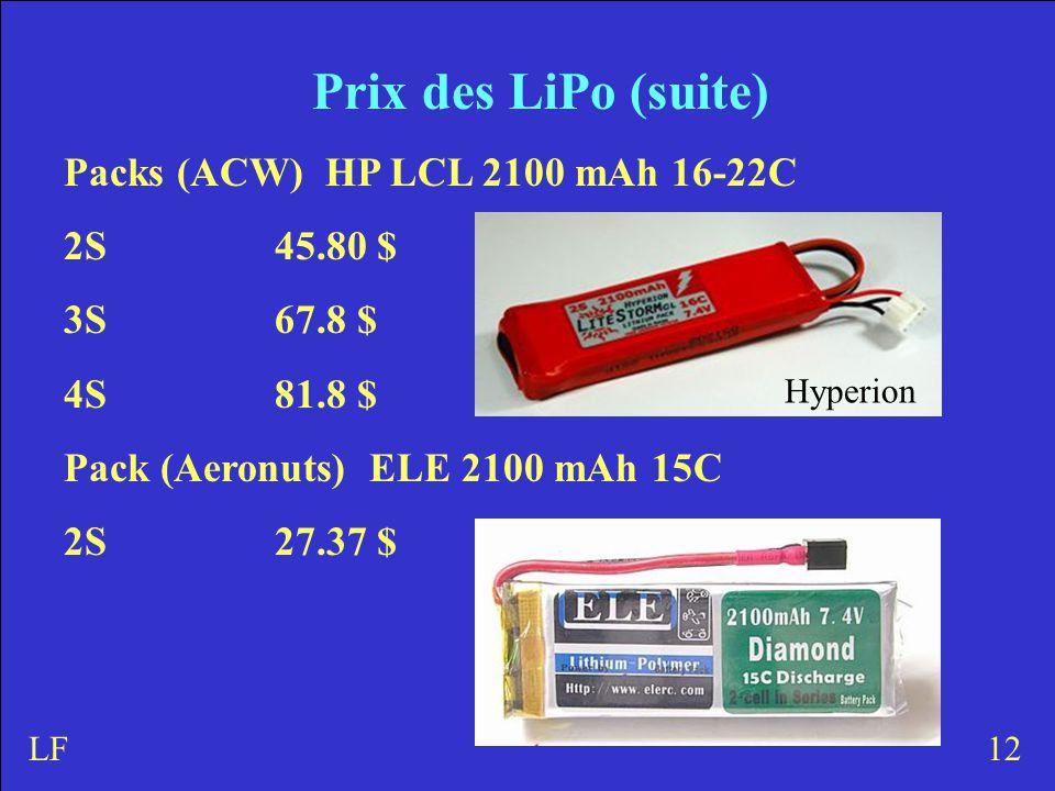 Prix des LiPo (suite) Packs (ACW) HP LCL 2100 mAh 16-22C 2S45.80 $ 3S 67.8 $ 4S81.8 $ Pack (Aeronuts) ELE 2100 mAh 15C 2S27.37 $ 12LF Hyperion
