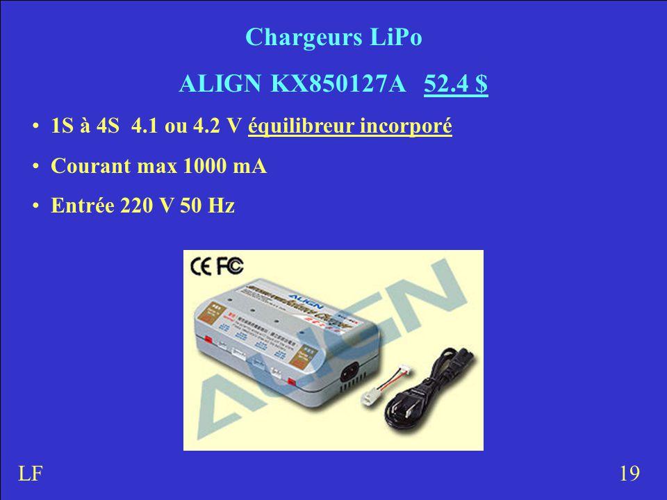 Chargeurs LiPo ALIGN KX850127A 52.4 $ 1S à 4S 4.1 ou 4.2 V équilibreur incorporé Courant max 1000 mA Entrée 220 V 50 Hz 19LF