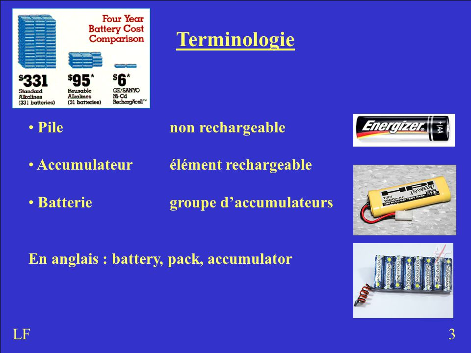 Terminologie Pilenon rechargeable Accumulateurélément rechargeable Batteriegroupe d'accumulateurs En anglais : battery, pack, accumulator 3LF