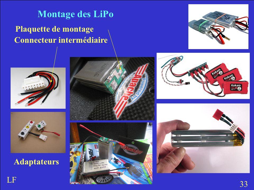 Montage des LiPo Plaquette de montage Connecteur intermédiaire Adaptateurs 33 LF