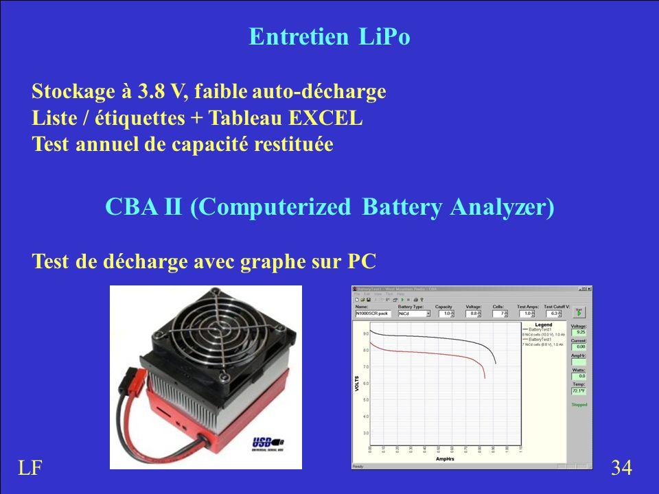 Entretien LiPo Stockage à 3.8 V, faible auto-décharge Liste / étiquettes + Tableau EXCEL Test annuel de capacité restituée 34LF CBA II (Computerized Battery Analyzer) Test de décharge avec graphe sur PC