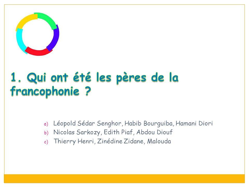 a) Léopold Sédar Senghor, Habib Bourguiba, Hamani Diori b) Nicolas Sarkozy, Edith Piaf, Abdou Diouf c) Thierry Henri, Zinédine Zidane, Malouda