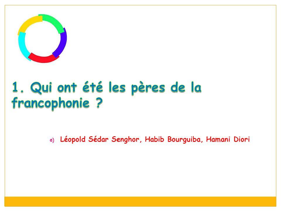 a) Léopold Sédar Senghor, Habib Bourguiba, Hamani Diori