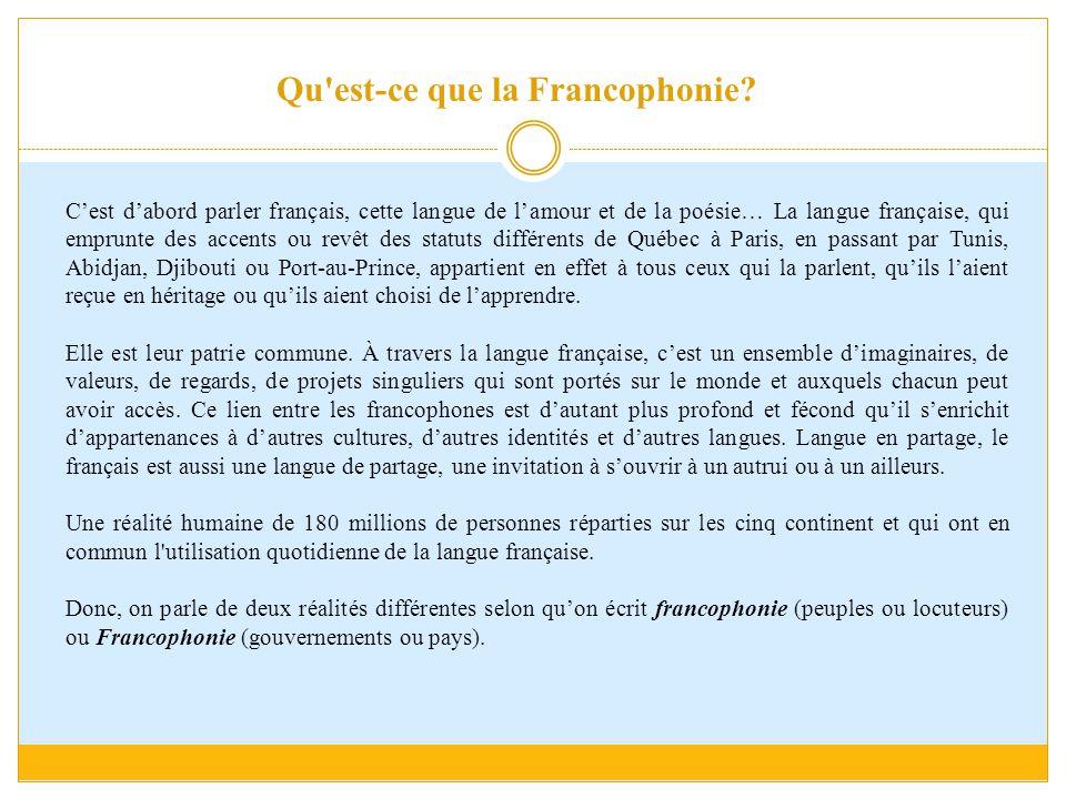 Qu'est-ce que la Francophonie? C'est d'abord parler français, cette langue de l'amour et de la poésie… La langue française, qui emprunte des accents o