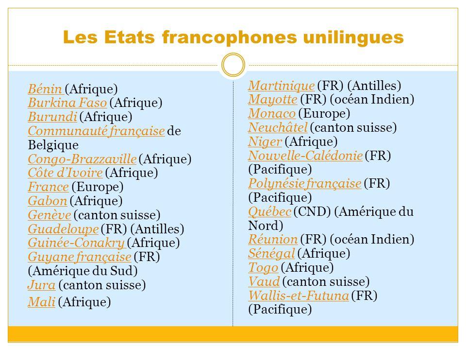 Les Etats francophones unilingues Bénin Bénin (Afrique) Burkina Faso (Afrique) Burundi (Afrique) Communauté française de Belgique Congo-Brazzaville (A