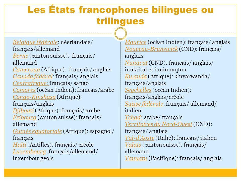 Les États francophones bilingues ou trilingues Belgique fédéraleBelgique fédérale: néerlandais/ français/allemand Berne (canton suisse): français/ all