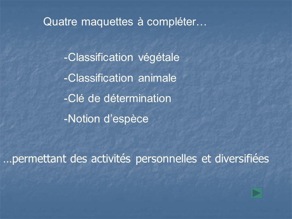 -Classification végétale -Classification animale -Clé de détermination -Notion d'espèce Quatre maquettes à compléter… …permettant des activités personnelles et diversifiées