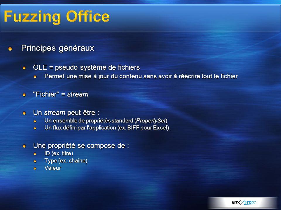 Principes généraux OLE = pseudo système de fichiers Permet une mise à jour du contenu sans avoir à réécrire tout le fichier Fichier = stream Un stream peut être : Un ensemble de propriétés standard (PropertySet) Un flux défini par l application (ex.